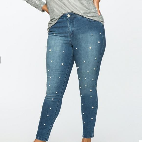 Eloquii Denim - Pearl embellished jeans